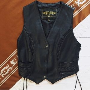 REAL Leather lace up black biker vest